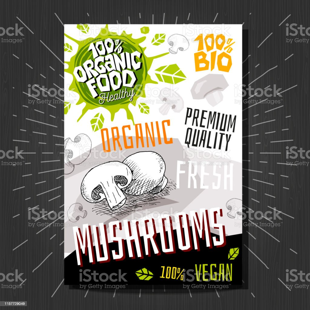 Food labels stickers set colorful sketch style fruits, spices...