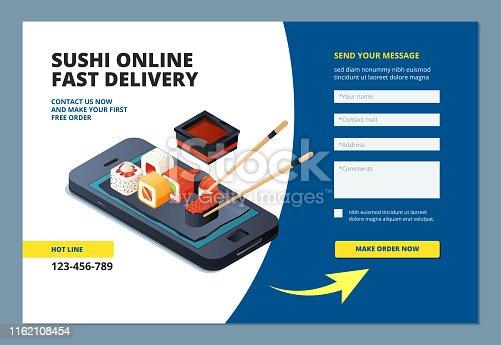 Food landing. Sushi seafood online restaurant menu order website form layout mobile app vector template. Seafood sushi, restaurant online orde illustration