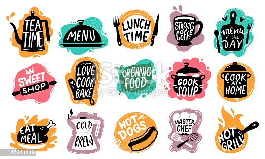 Food lettering. Bakery kitchen sweets, hot dogs badge and organic food logo. Good food cooking motivation, restaurant text emblem or bakery quote. Vector isolated symbols set
