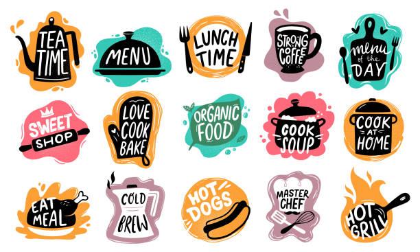 ilustrações de stock, clip art, desenhos animados e ícones de food lettering. bakery kitchen sweets, hot dogs badge and organic food logo vector set - food