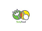 Food like icon. Fork and Spoon inside circles. Catering concept.
