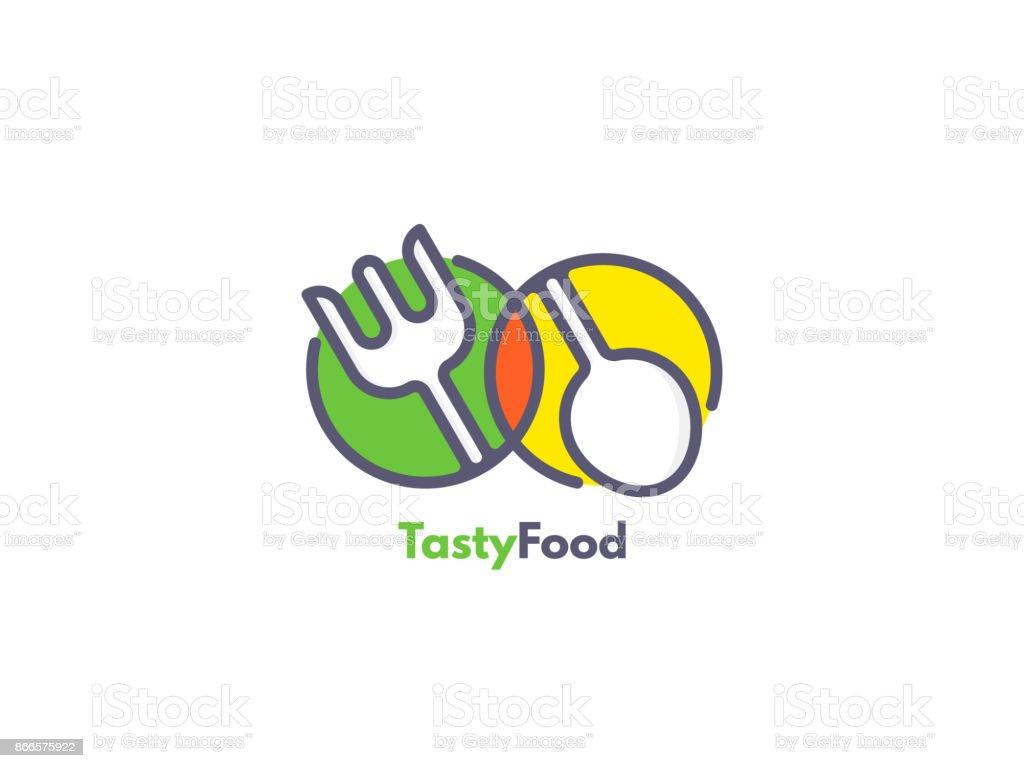 Alimentos como ícone. Garfo e colher dentro de círculos. Conceito de catering. - ilustração de arte em vetor