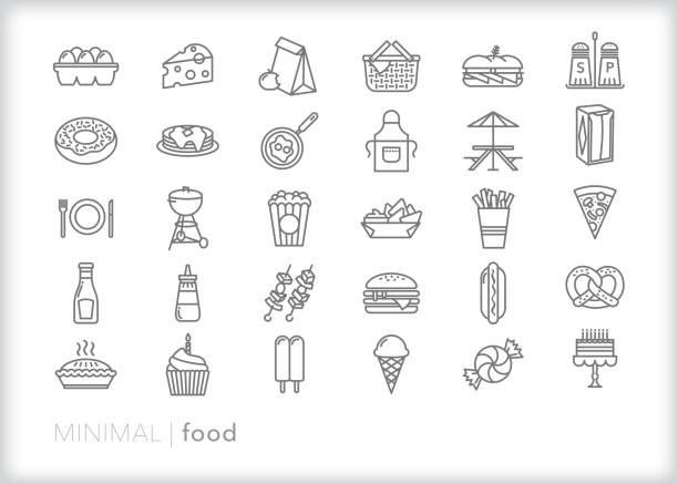 illustrazioni stock, clip art, cartoni animati e icone di tendenza di food line icon set - panino