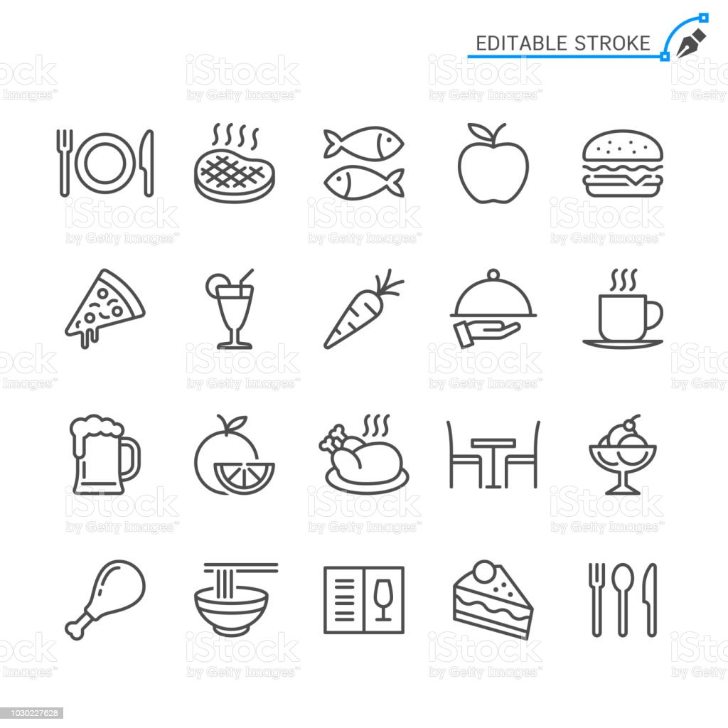 Food line icons. Editable stroke. Pixel perfect. food line icons editable stroke pixel perfect - immagini vettoriali stock e altre immagini di arancia royalty-free