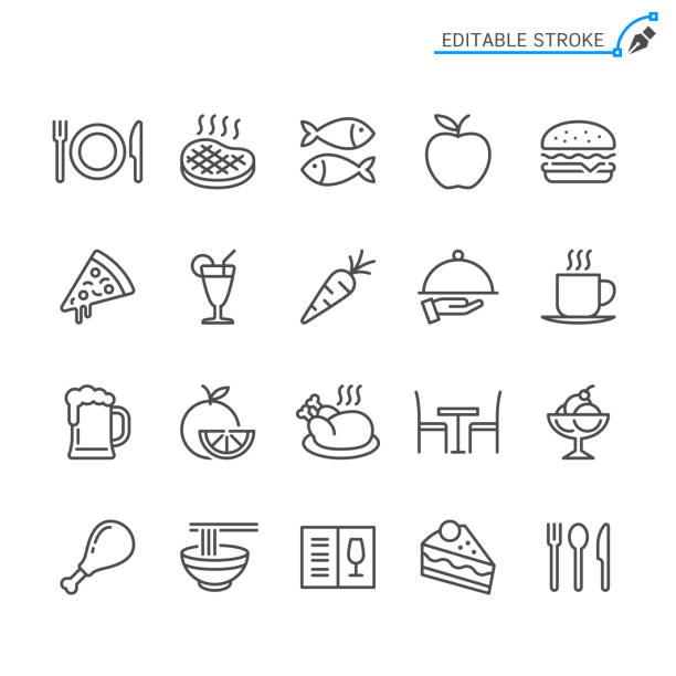 illustrazioni stock, clip art, cartoni animati e icone di tendenza di food line icons. editable stroke. pixel perfect. - cena
