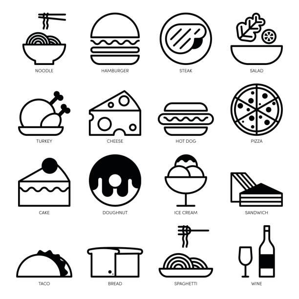 bildbanksillustrationer, clip art samt tecknat material och ikoner med mat linje ikoner anger isolerade på vit bakgrund - cheese sandwich