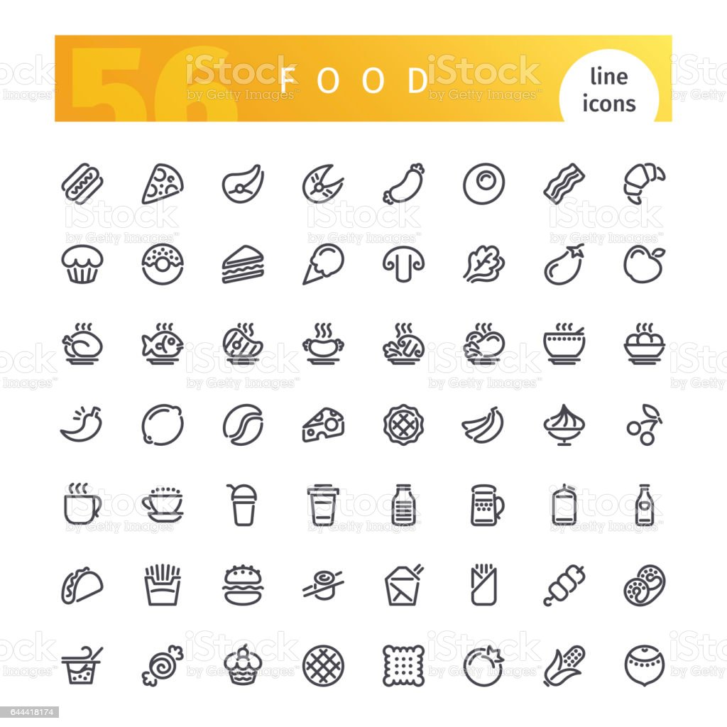 Food Line Icons Set vector art illustration