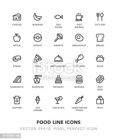 Food Line Icons Vector EPS 10 File, Pixel Perfect Icons.