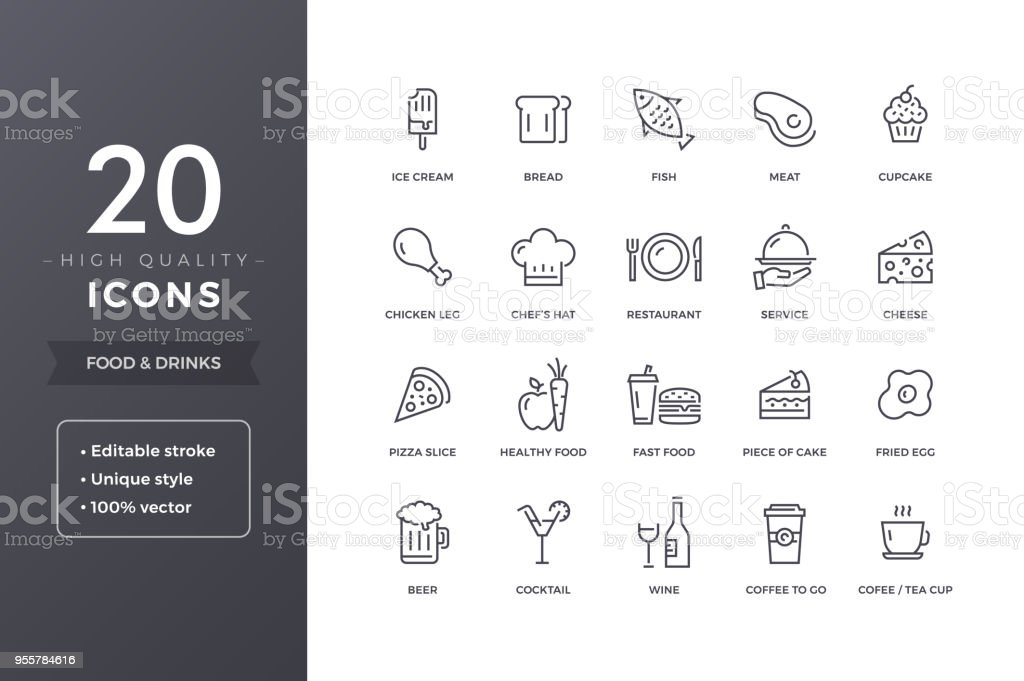 Food Line Icons - Royalty-free Alcohol stock vector