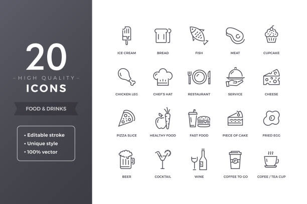 Food Line Icons Food line icons.  Meals and drinks  icon set with editable stroke cooking icons stock illustrations