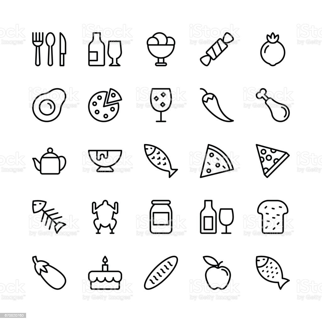 Food Line Vector Icons 1 vector art illustration