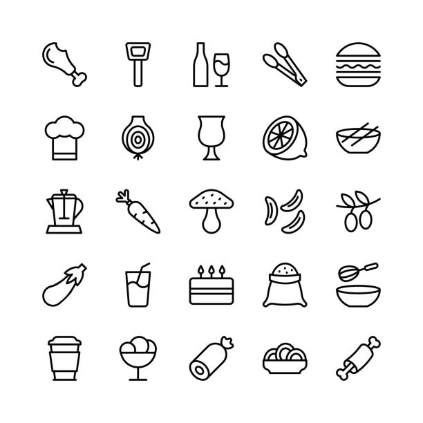 food line vector icons 13 - burger and chicken stock illustrations