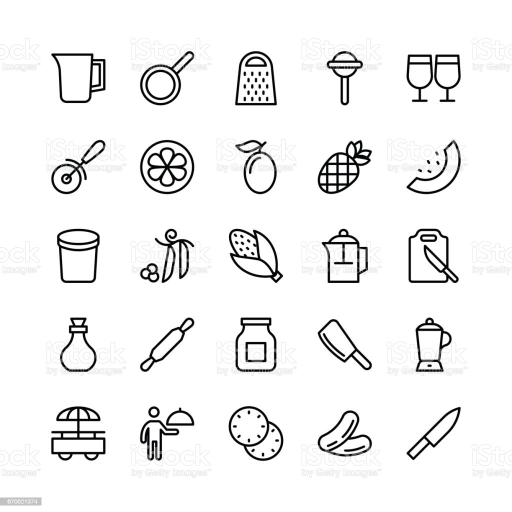 Food Line Vector Icons 19 vector art illustration