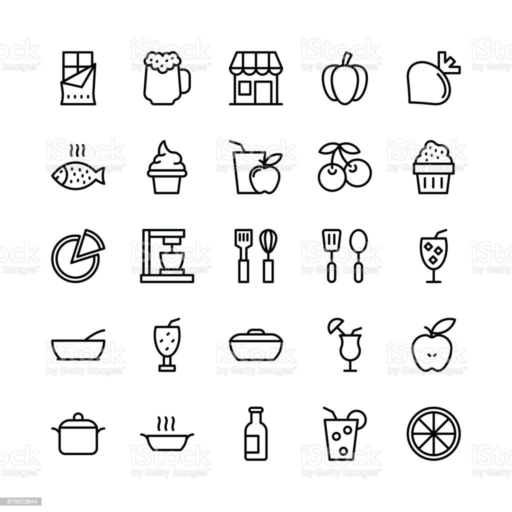 Food-Line-Vektor-Icons 2 – Vektorgrafik