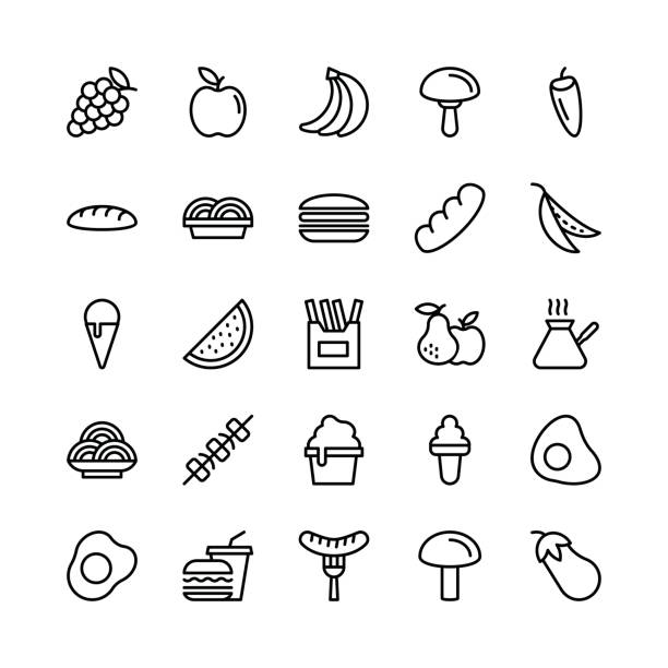 food-line-vektor-icons 6 - austernschalen stock-grafiken, -clipart, -cartoons und -symbole
