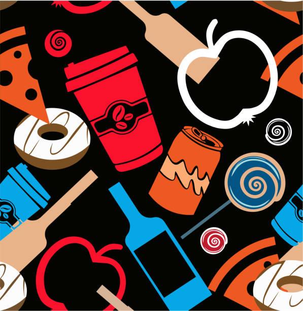 Food, Liquor, Produce Seamless vector art illustration