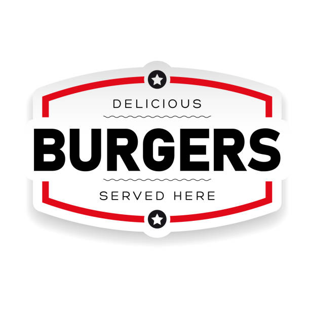 food logo burger vintage - cheeseburger stock illustrations