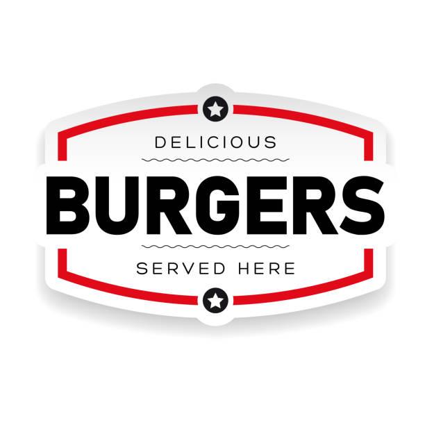 Food logo Burger vintage Food logo Burger vintage stamp cheeseburger stock illustrations