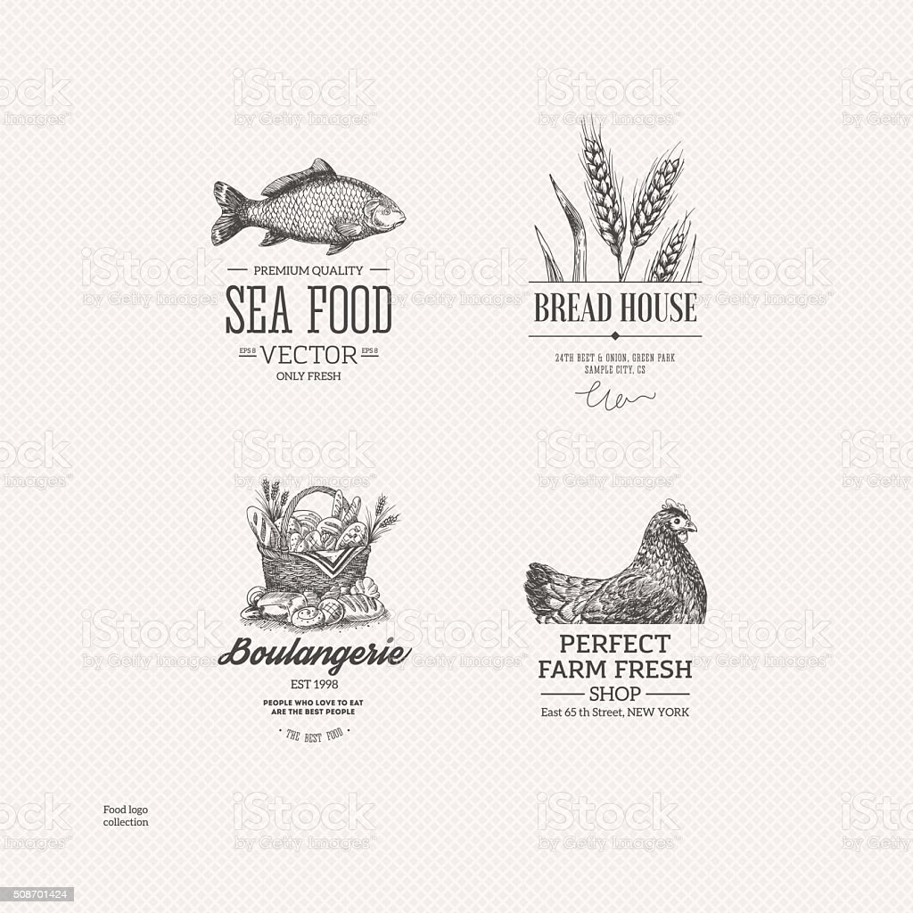 Food logo collection. Engraved logo set. Vector illustration vector art illustration