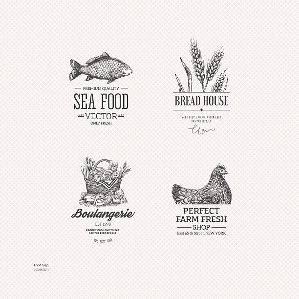 Food logo collection. Engraved logo set. Vector illustration EPS 8 french culture stock illustrations