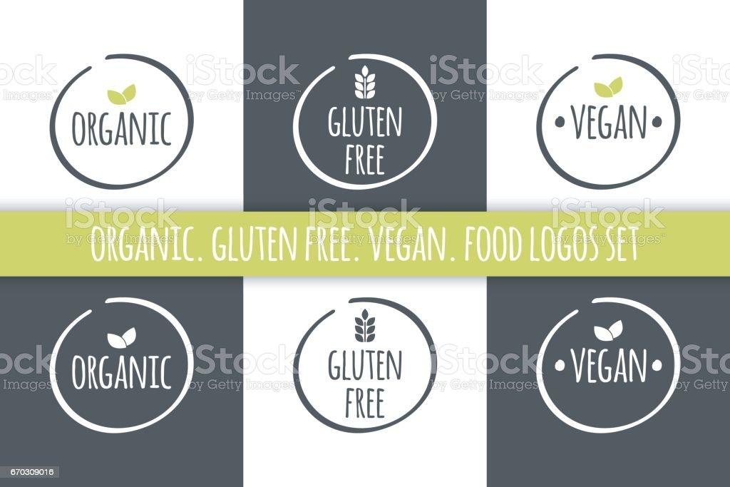 Food Logos Set Organic Gluten Free Vegan Labels Vector Grey White
