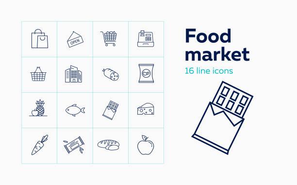 bildbanksillustrationer, clip art samt tecknat material och ikoner med matmarknad linje ikonuppsättning - potatischips