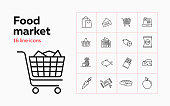 Food market line icon set. Set of line icons on white background. Product store concept. Fish, bread, shopping cart. Vector illustration can be used for topics like shopping, grocery, supermarket