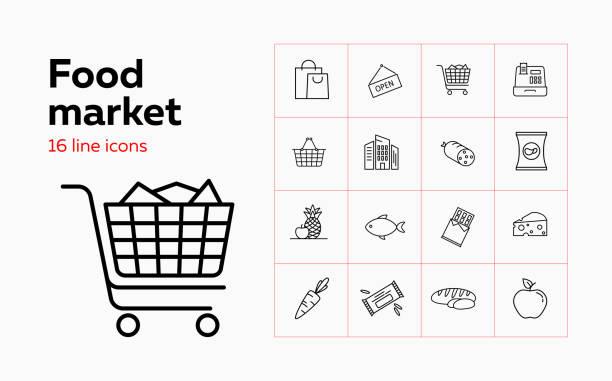 bildbanksillustrationer, clip art samt tecknat material och ikoner med ikonuppsättning för matmarknaden - potatischips