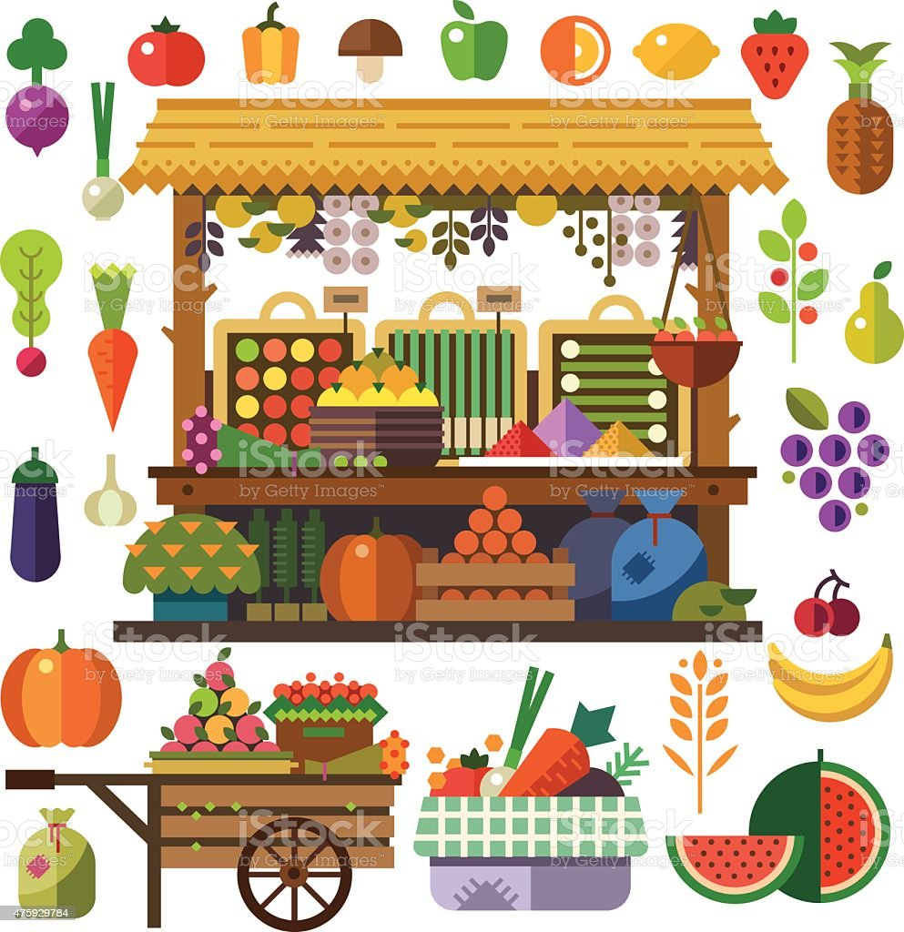 food market vector flat vegetables and fruits stock vector art
