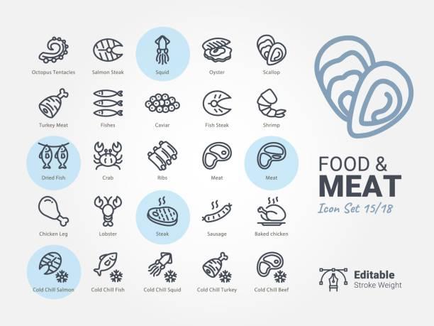 ilustraciones, imágenes clip art, dibujos animados e iconos de stock de icono de vector de comida y carne - pescado y mariscos