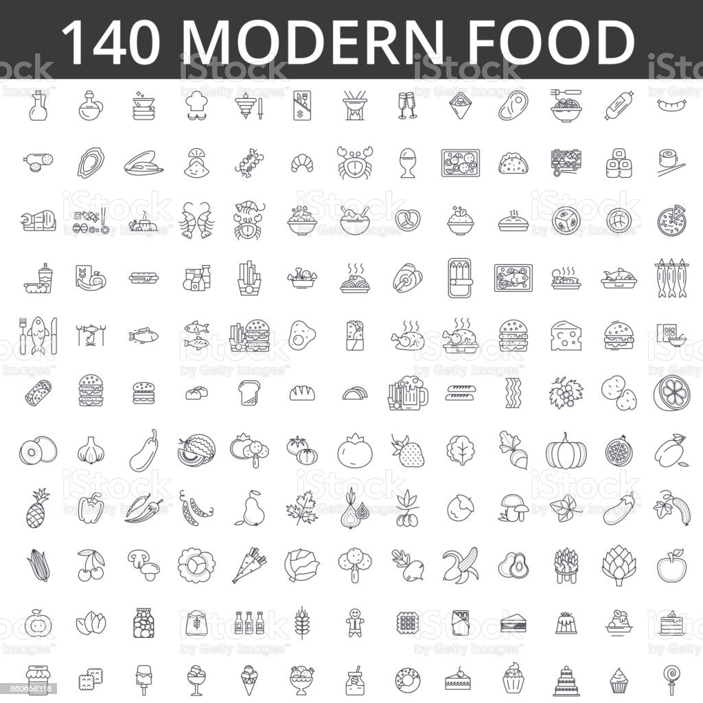 Food, meat, vegetable, fruit, fried chicken, fresh fish, meal, organic diet, street, eating, gastronomy, culinary line icons, signs. Illustration vector concept. Editable strokes vector art illustration