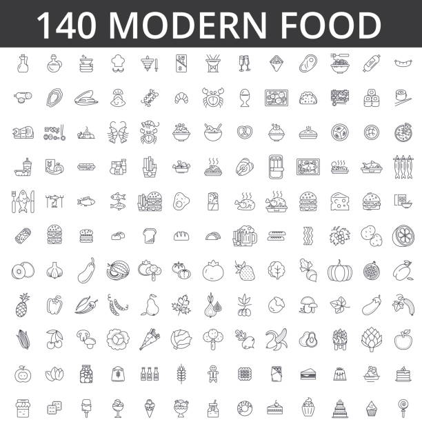 food, meat, vegetable, fruit, fried chicken, fresh fish, meal, organic diet, street, eating, gastronomy, culinary line icons, signs. illustration vector concept. editable strokes - delis stock illustrations