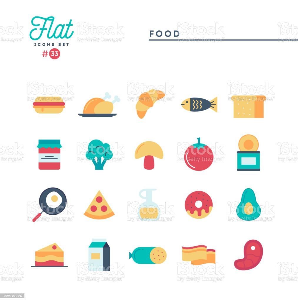 Food, meat, vegetables and more, flat icons set vector art illustration