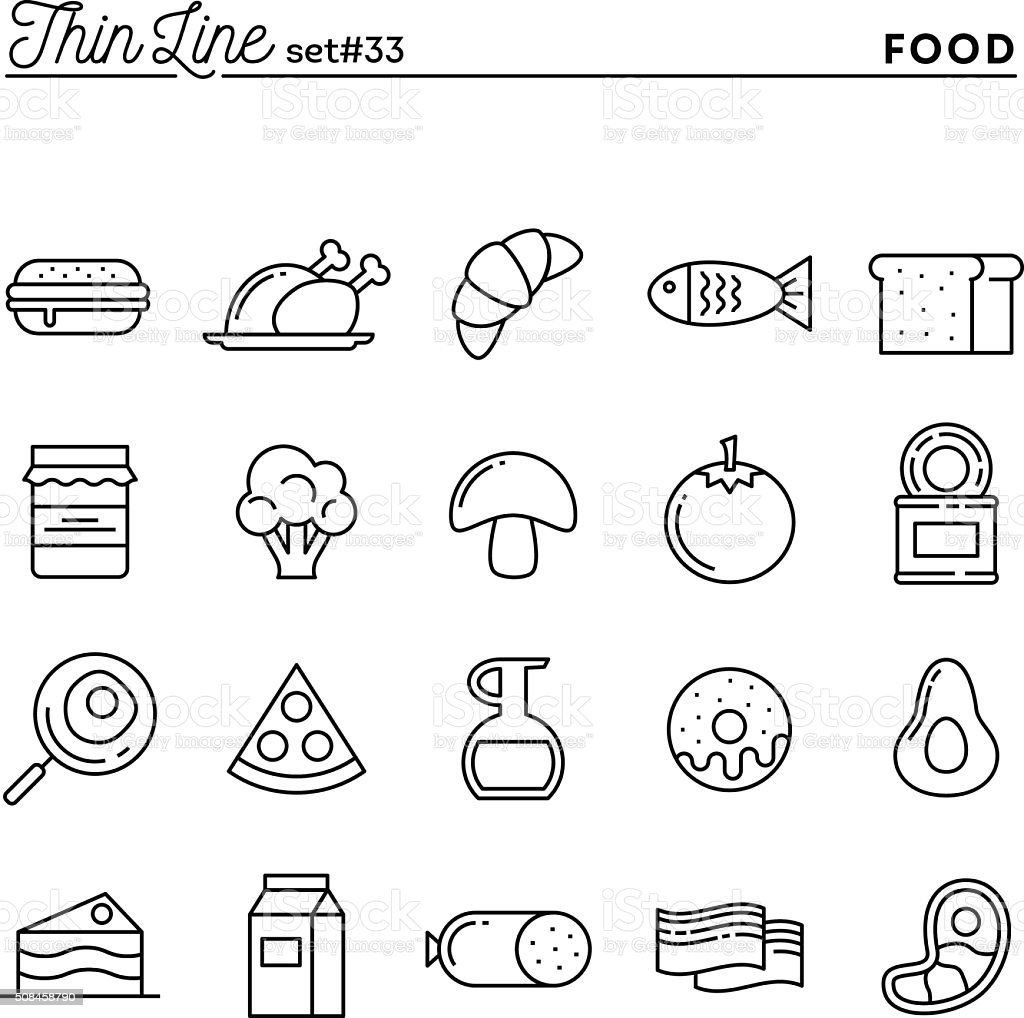 Food, meat, vegetables and more, thin line icons set vector art illustration