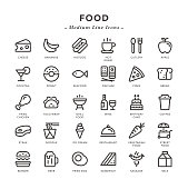 Food - Medium Line Icons - Vector EPS 10 File, Pixel Perfect 30 Icons.