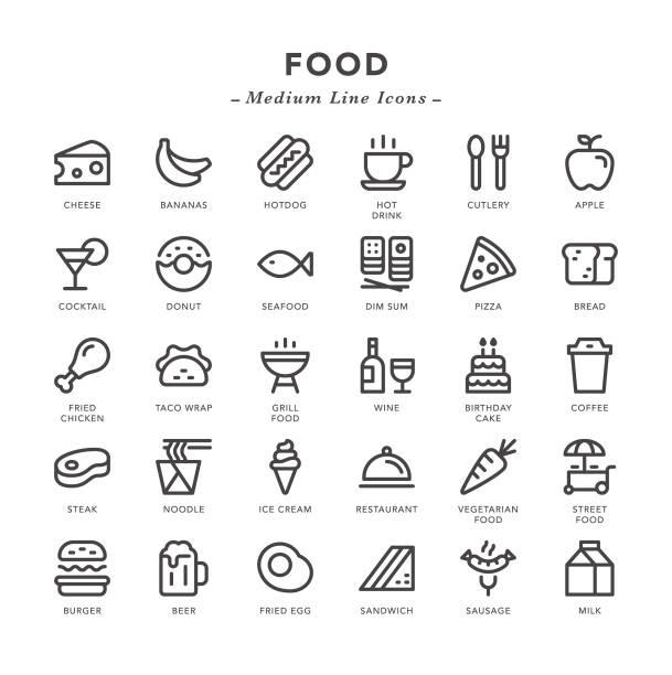 stockillustraties, clipart, cartoons en iconen met food-medium line iconen - bevroren voedsel