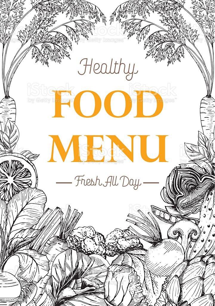 Food Book Cover Art : Food menu design vegetable organic healthy drawing element