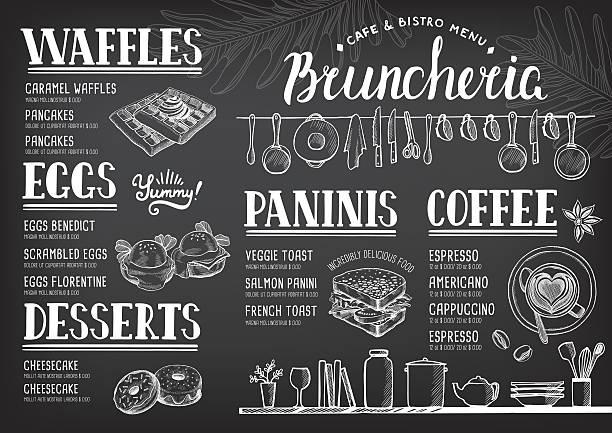 Food menu for restaurant and cafe. vector art illustration