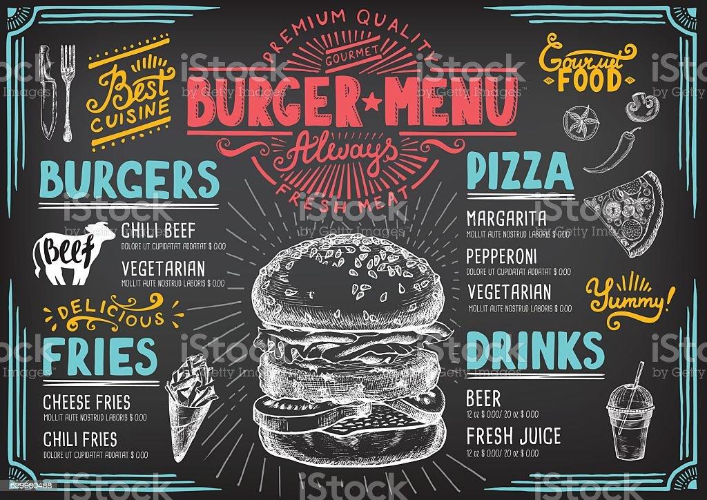 Food menu for restaurant and cafe.