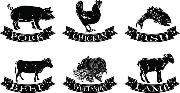 음식 메뉴판 라벨 - 소고기 stock illustrations