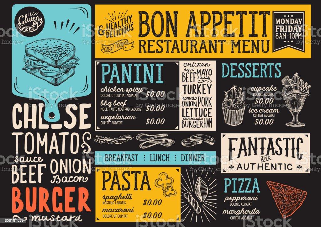 Modelo de restaurante de menu de comida. - ilustração de arte em vetor