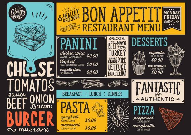 Menüvorlage Restaurant Essen. – Vektorgrafik