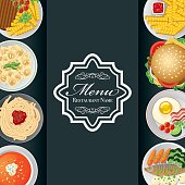 Vector illustration of a card Menu with several plates over view and a elegant curves and copy space for a restaurant name