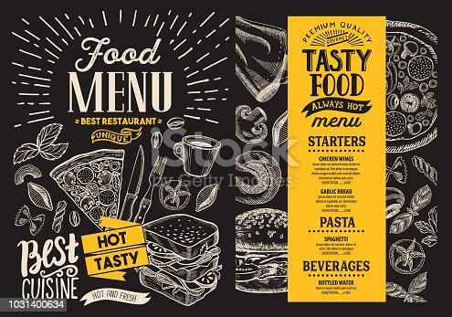 Food menu. Vector restaurant flyer on blackboard background. Design template with vintage hand-drawn illustrations.