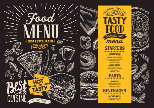 illustrazioni stock, clip art, cartoni animati e icone di tendenza di food menu. vector restaurant flyer on blackboard background. design template with vintage hand-drawn illustrations. - menù