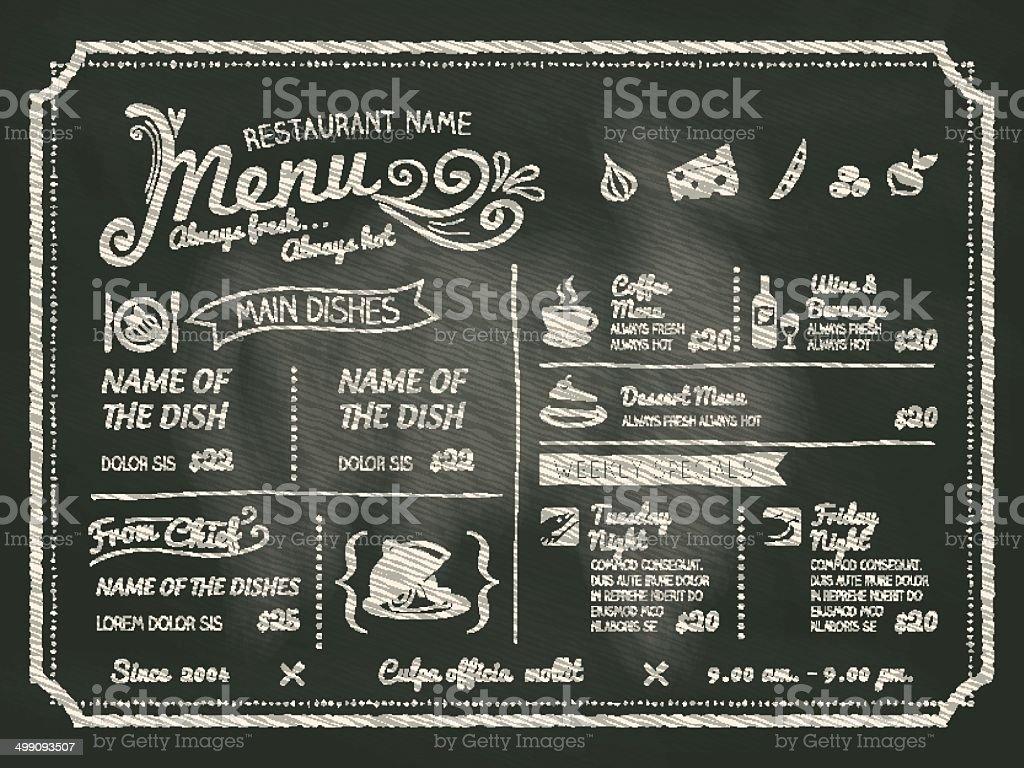 Food menu written on black chalk board vector art illustration