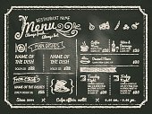 Food menu written on black chalk board