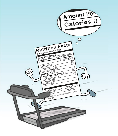 Food Nutrition Label On A Treadmill Burning Calories Stock ...
