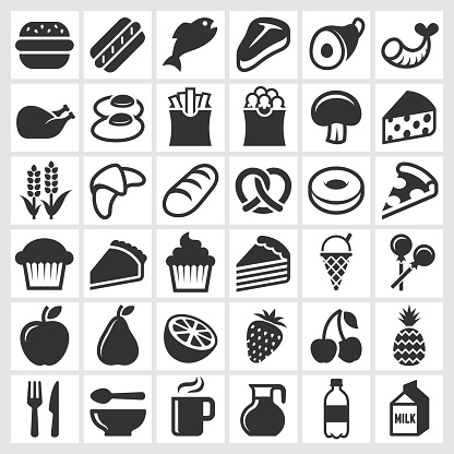 Food on Black and White royalty free vector icon set