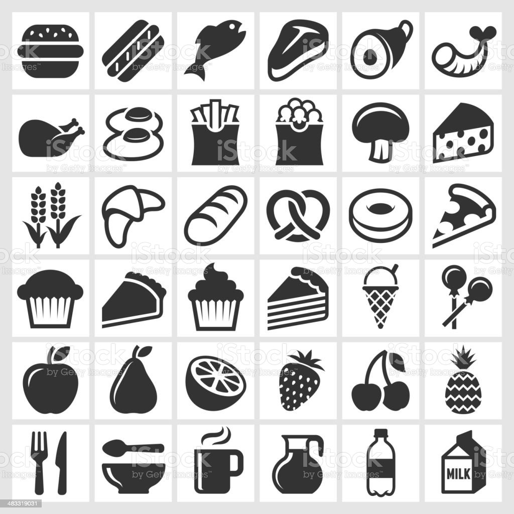 Food on Black and White royalty free vector icon set vector art illustration